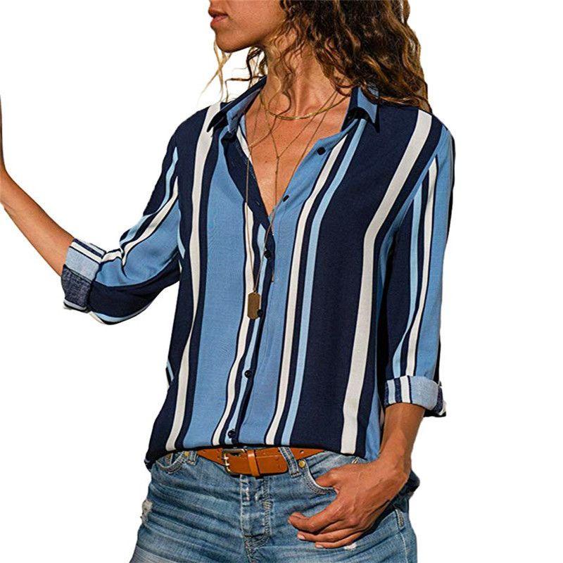 Gömlek Kadınlar 2018 Uzun Kollu Bluz Rahat Turn-Aşağı Yaka Üst Çizgili Kadın Gömlek Ofis Workwear Bayanlar Bluz Artı Boyutu