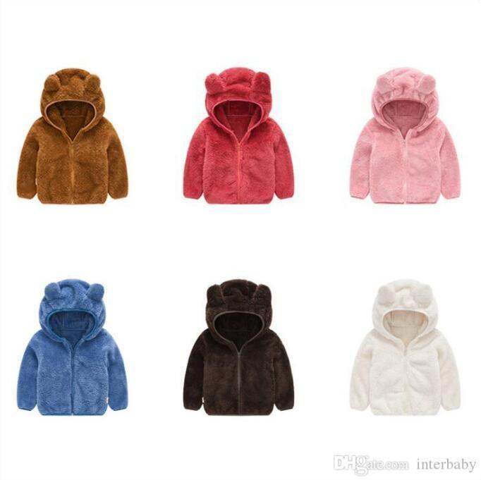 Çocuklar Ceketler Kapüşonlular Tavşan Kulak Kürk Fleece Boys Katı Kapşonlu Coat Fermuar Triko Tasarımcı Jumper Butik Tişörtü Dış Giyim AYP6283