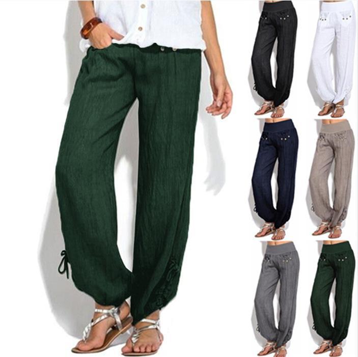 Mujeres Casual Pantalones Harem flojo botón bajo la cintura Palazzo del tamaño extra grande de la pierna pantalones anchos