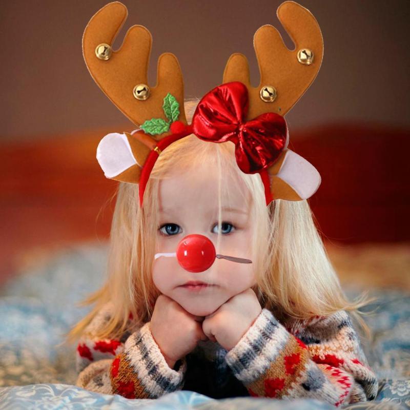Noel Kid Kostüm Partisi Prop için Sevimli Boynuz Elk Saç Hoop Kafa Red Nose
