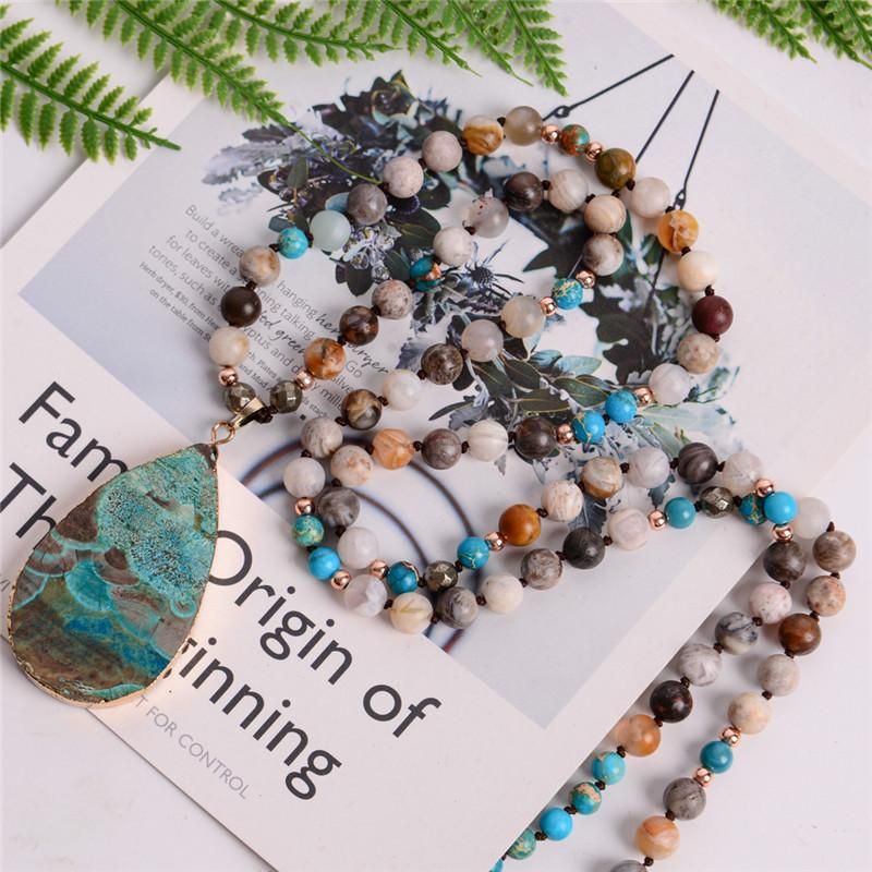 Women's Fashion Handmade Boho Necklace Mix Natural Stones Big Teardrop Pendant Necklace Lariat Beads Knotted Bohemia Necklace J 190515