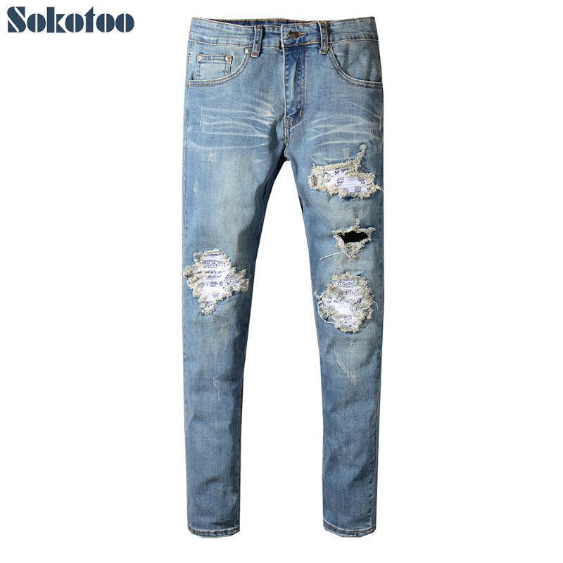 Sokotoo Erkek pilili baskılı yama delikleri motorcu kot Mavi slim fit sıska kalem pantolon denim yırtık