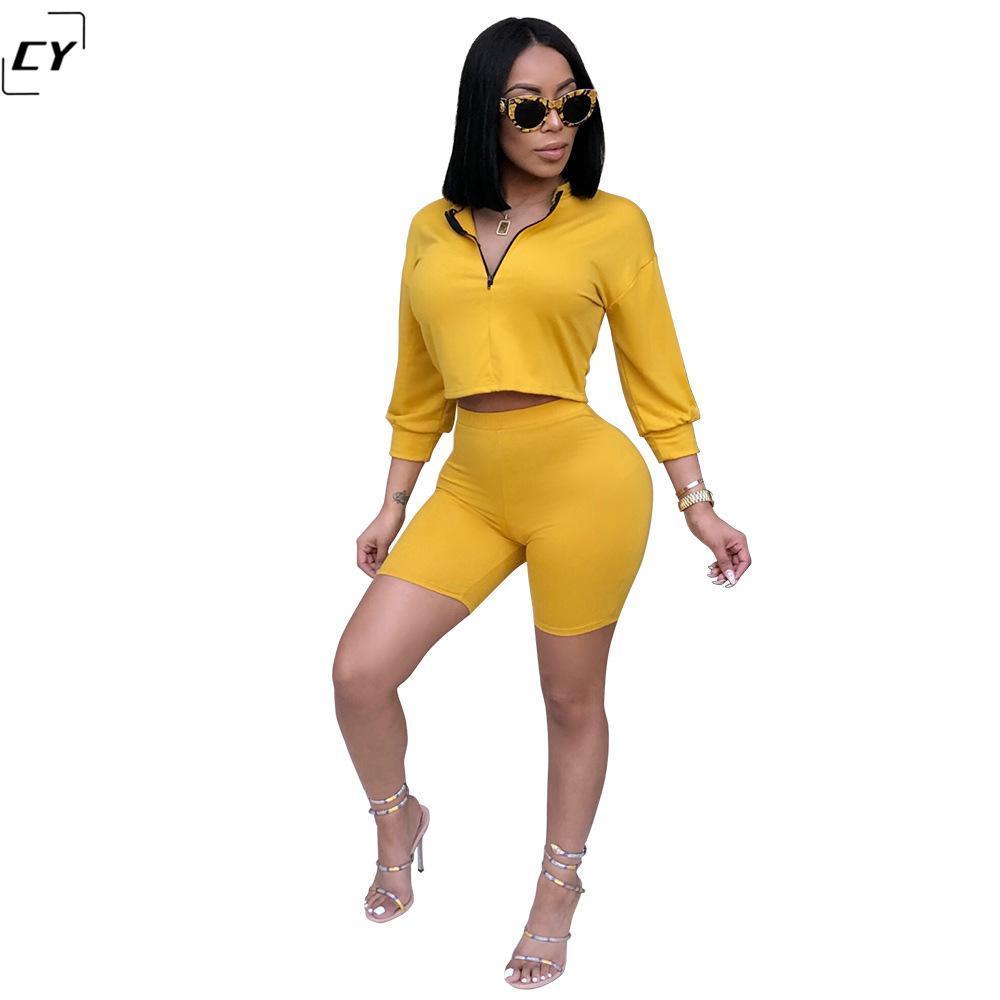 Farbe Gelb Damen Sets Zweiteilige Sets Crop Top Plus-High Waist Shorts 2018 Crop Top-Rock-beiläufigen Frauen
