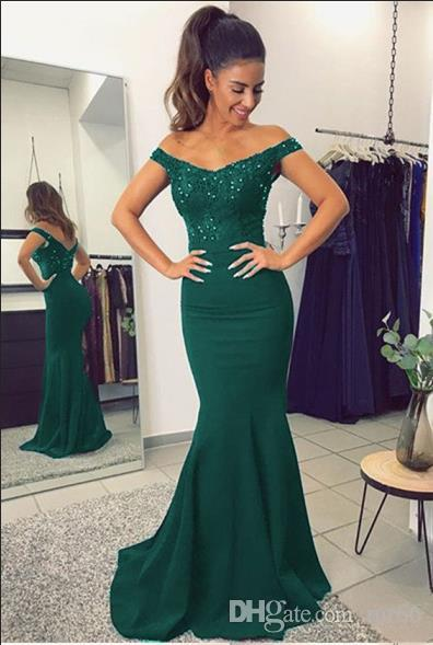 Compre Vestido De Madres De Color Verde Oscuro Con Hombros Descubiertos Mangas Cortas Cuello En V Sirena Largo Del Piso Vestido Largo Para Madre De La