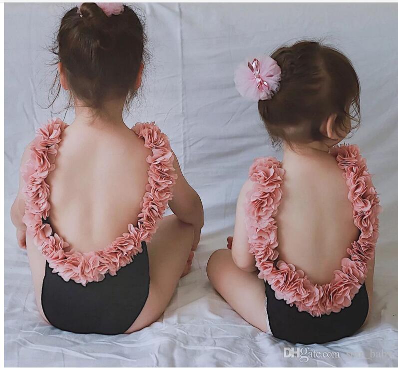 niños niños niña espalda abierta tutú flor pétalo color sólido borde del bikini espalda abierta madre hija traje de baño traje de baño de una pieza monokini