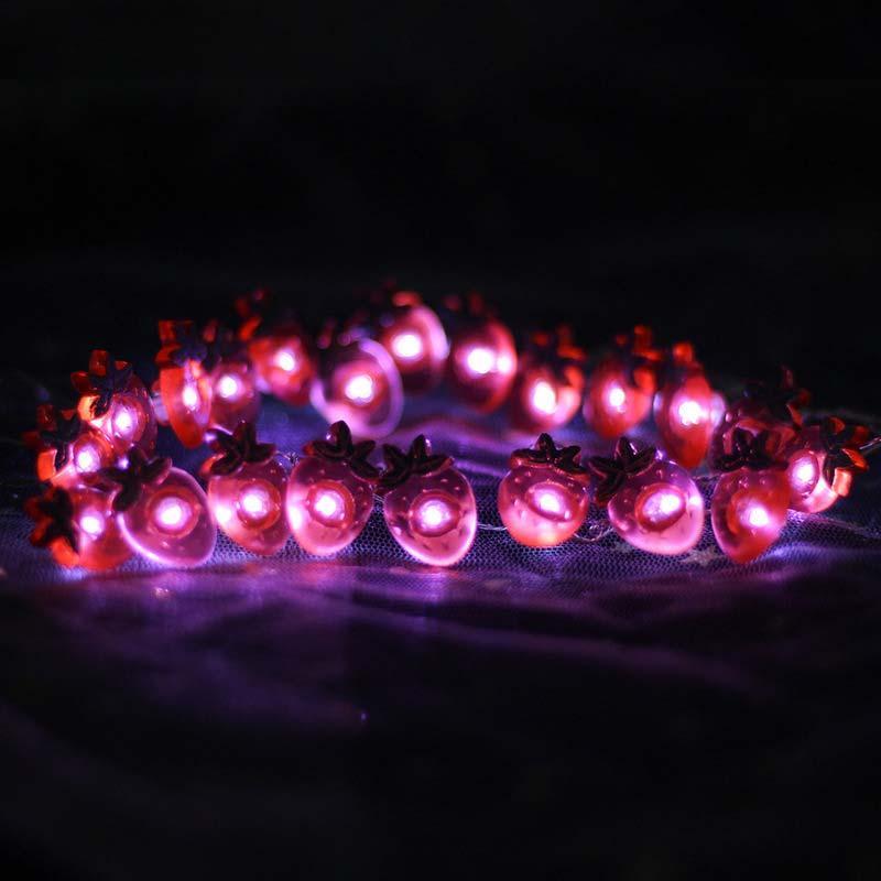 BRELONG 크리스마스 딸기 로프 크리스마스 장식 크리스마스 장식 패턴 크리스마스 트리 등불 2M 20LED 1 개를 점등