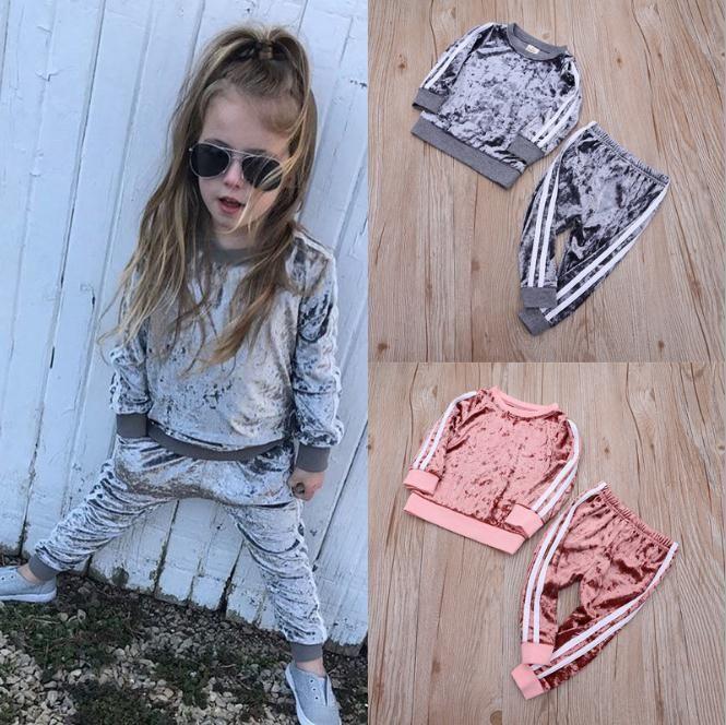 Art und Weise scherzt Baby-Mädchen-Sport-Kleidung Kleinkind-Baby-Jungen-gestreifter Samt-Herbst-Frühlings-Klage Hoodies Hosen 2Pcs Outfit Set