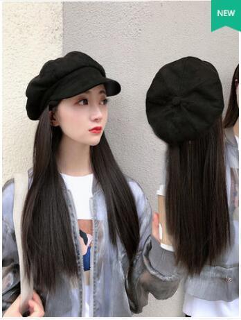 Livre shippingHot vender um preto peruca de cabelo longa reta com chapéu chapelaria completo