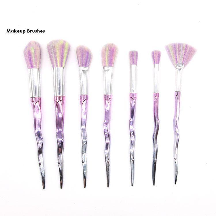 Pinceles de maquillaje 7 unids Conjunto Kits de pincel de polvo Cara y cepillo de ojos Puff Batch Cepillos Coloridos Cepillos Cepillos Belleza Cosméticos por DHL