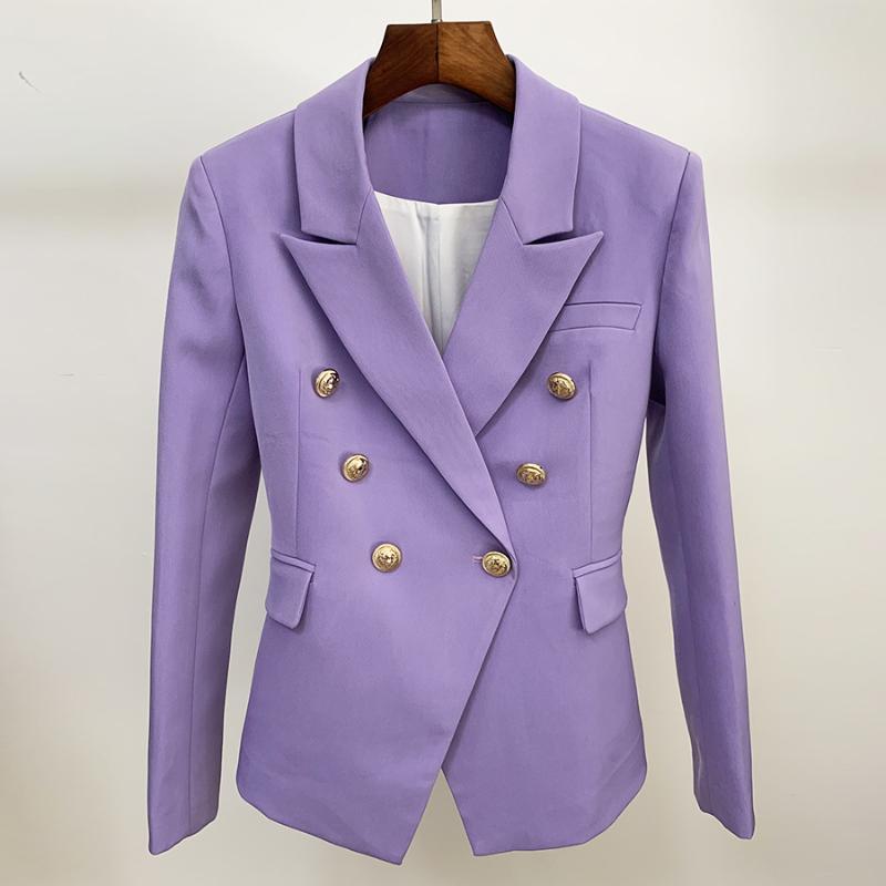 HIGH QUALITY 최신 2020 디자이너 재킷 여성의 클래식 사자 버튼 더블 브레스트 슬림 맞춤 블레이저 재킷 라벤더