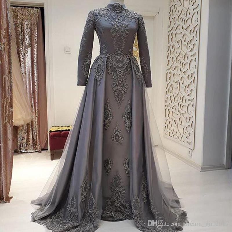 New Long Sleeves Muslim Evening Dresses High Neck A-Line Beaded Appliques Sweep Train Formal Prom Occasion Dresses Custom Made Party Gowns