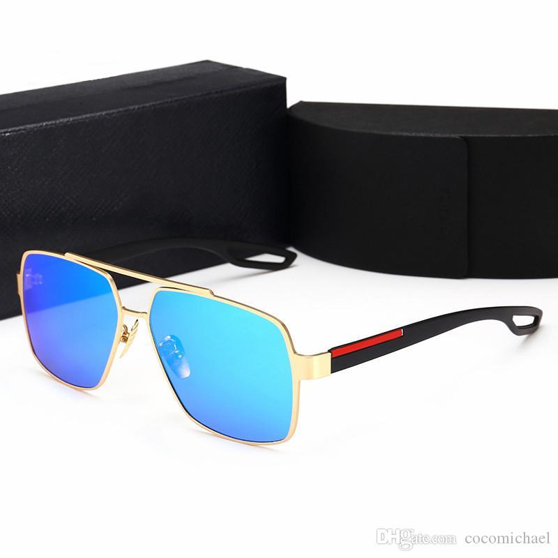2019 جديد مصمم النظارات الشمسية العلامة التجارية في الهواء الطلق ظلال الكمبيوتر الإطار الأزياء الكلاسيكية الفاخرة لامعة النظارات الشمسية مرايا للرجال والنساء