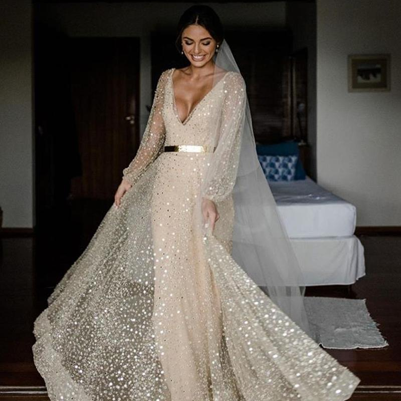 Sparkly Sequined Evening Dress Bling Bling Deep V Neck Sexy Backless Long Sleeve Prom Party Gown NO Belt