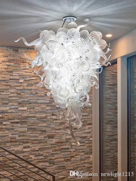 Claro blanco LED de la lámpara de Murano vendedora caliente 100% hecho a mano de cristal soplado Lámparas de techo de la lámpara por la sala de estar decoración del hotel