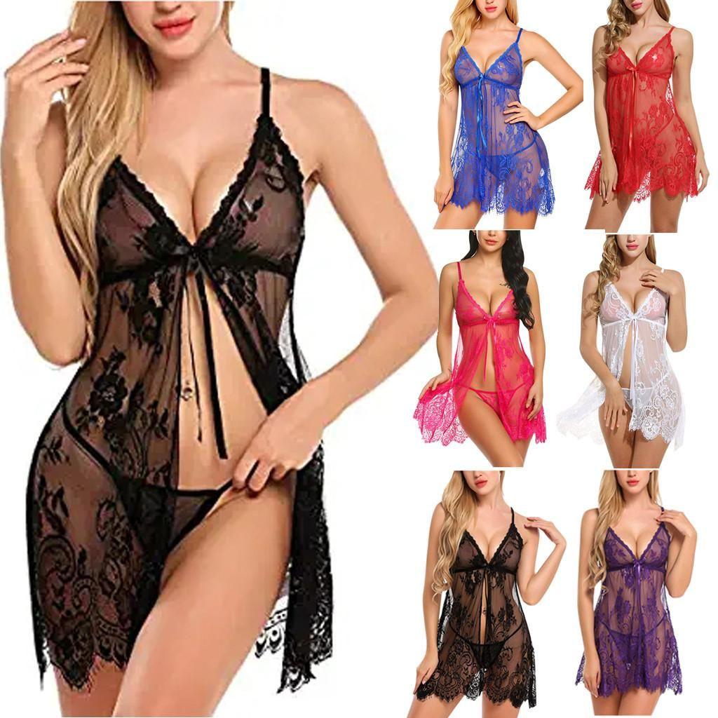 섹시한 잠옷 밤 드레스 여성 잠옷 속눈썹 고삐 나이트 가운 란제리 잠옷 G-string 속옷 세트 S-2XL