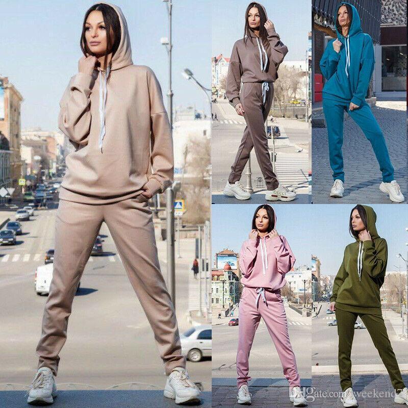 5 컬러 S-2XL 2 개 여자의 긴 소매 일반 후드 바지 후드 스포츠 운동복은 의상 57396052463862을 설정합니다