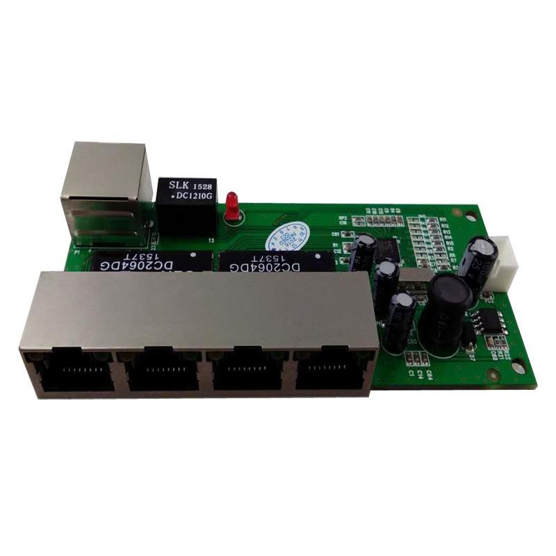 Freeshipping mini 5 portas 10/100 mbps interruptor de rede 5-12 v ampla tensão de entrada módulo ethernet pcb rj45 inteligente com led embutido