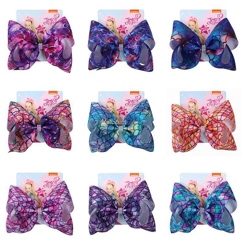 клипы 104Colors Девушки Лук Волосы Mermaid клевера Flamingo печати Аксессуары для волос Заколки Дети 8 дюймов Headdress волос луки с зажимом C6580