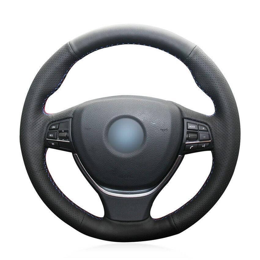 Cubierta del volante del coche de cuero artificial negro para BMW F10 2014 520i 528i