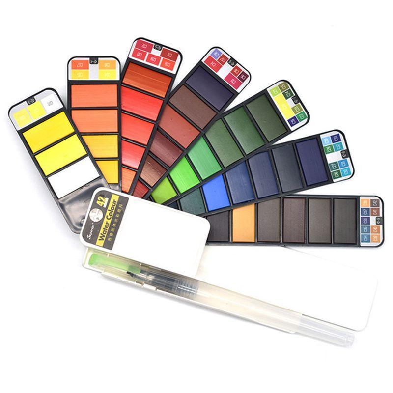 42 Cores Pigmento Tintas sólido conjunto Aguarela com Waterbrush Para desenho pintura Watercolors terno dobrável