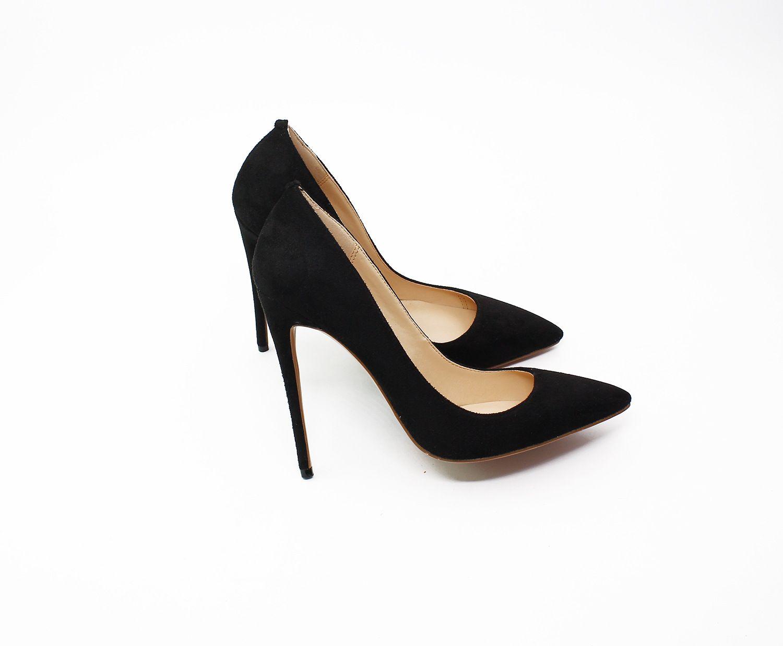 Haute qualité sexy mode daim bas rouges talons hauts habillées chaussures multicolores 8.5 10 12cm talon aiguille pompes grande taille 40-46