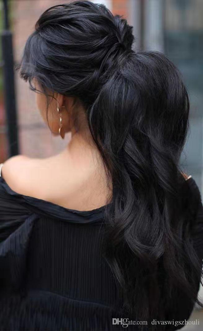140g de quai ondulé long queue de quai rallongement de cheveux noirs, couleur naturelle, couleur vierge vierge brésilienne cordon de cordon de cheval de poney cheveux