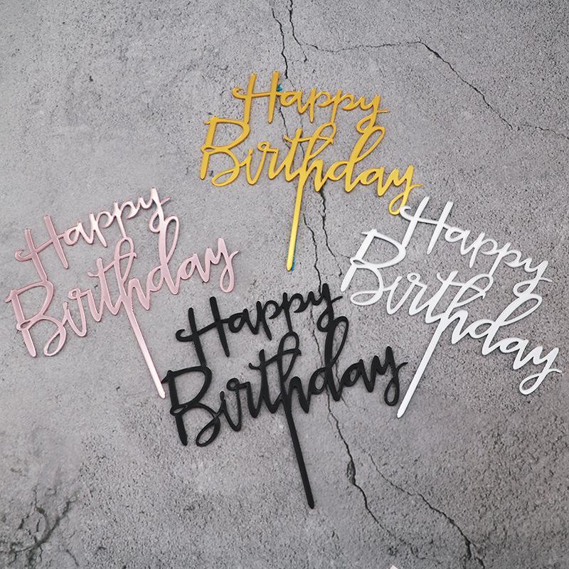 Счастливый день рождения торт Топпер Акриловая Выпечка торт Вставка декорирование Cupcake День рождения партии украшения Supplies торт Top Flag Y200618