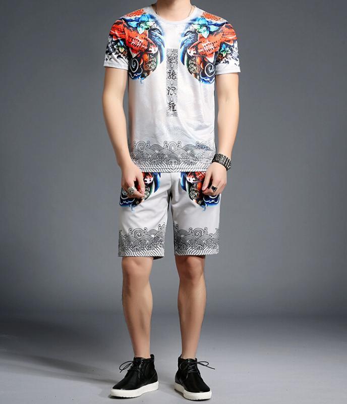Фитнес спортивный костюм летний костюм хип-хоп мужчины 2шт комплект