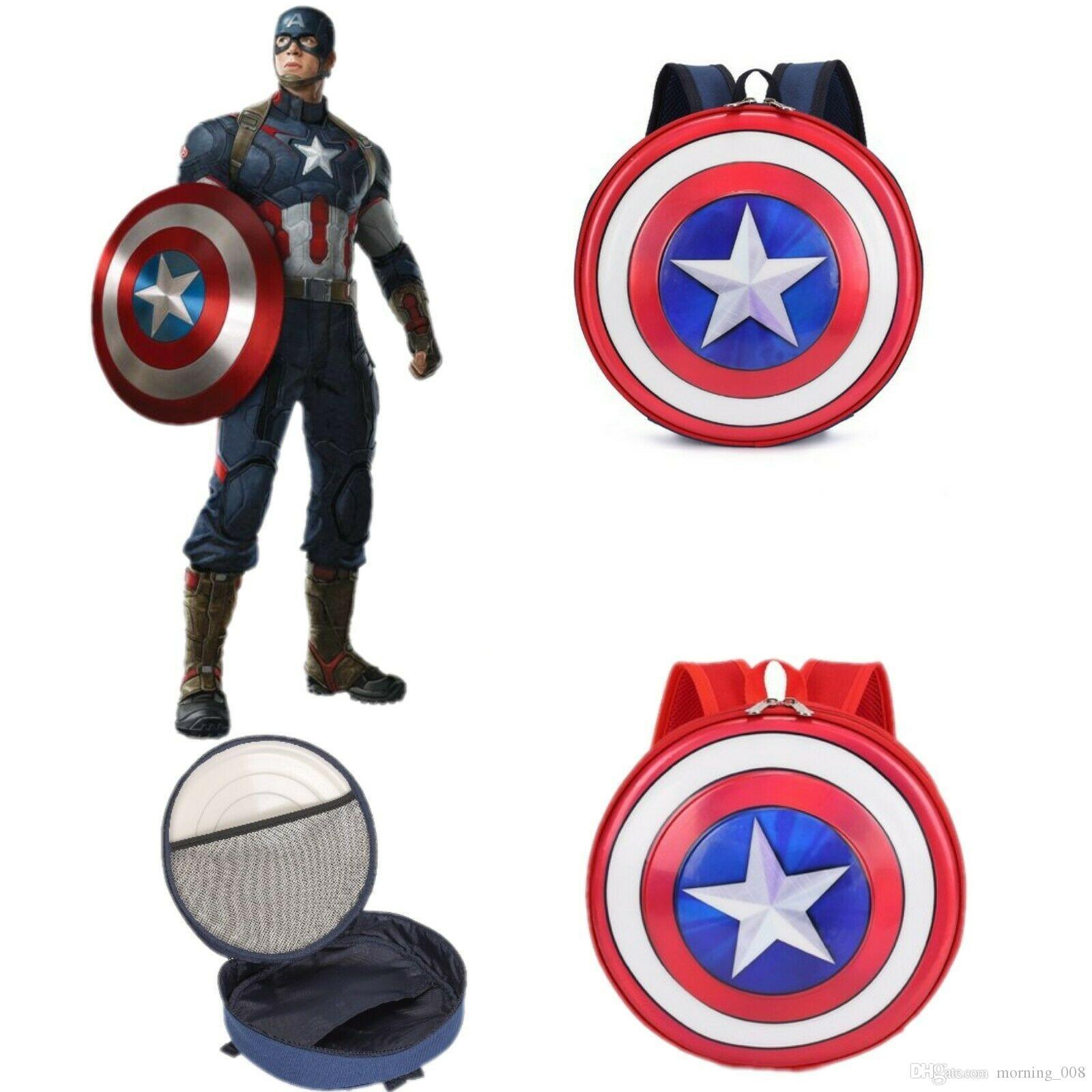 Captain America Shield Rucksack Superheld Schultasche Adrette Studenten Rucksack Kreis Runde Umhängetaschen Rucksack Kinder Junge Mädchen Geschenk