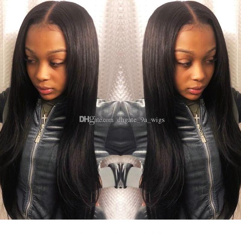 Brazilian Full Lace Human Hair Wigs With Baby Hair Full End Straight Lace Front Wigs 4.5*5 Closure Bleached Knots Non Remy
