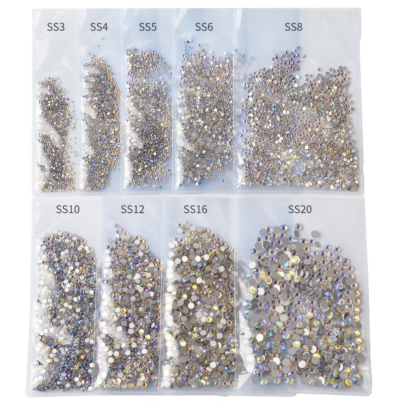 1440pcs / Paquet SS3-SS20 Starry AB Strass pour ongles 3d Flatback verre Strass Non Hotfix Crystal Charm Nail Art Décorations Glitter