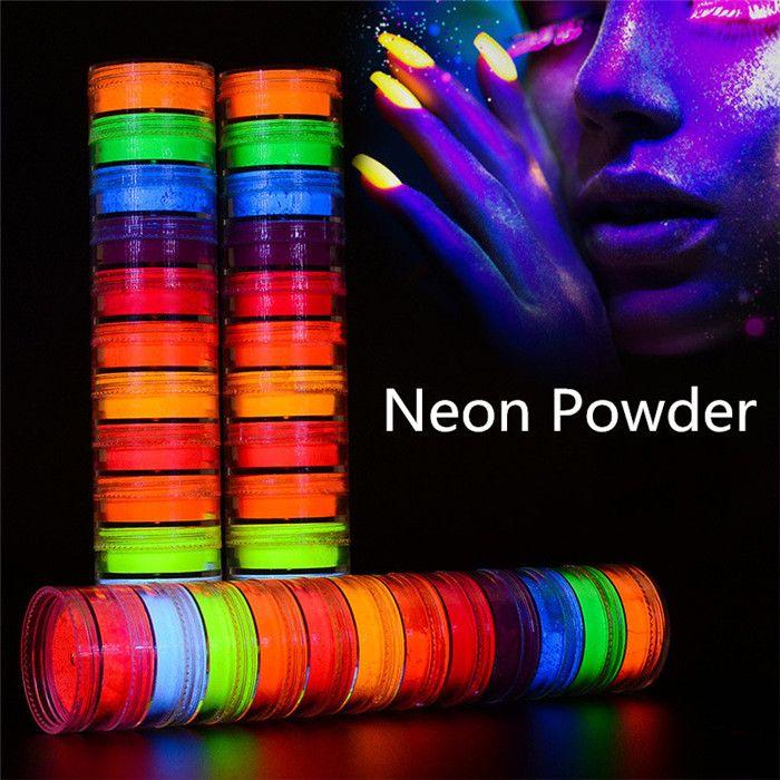 Neon-Partei Lidschatten-Puder 12 Farben in 1 Satz Luminous Lidschatten Nagel-Funkeln-Puder-Pigment Fluorescent Puder-Maniküre-Nagel-Kunst