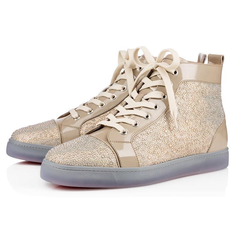 New Classic Red Bottom Designer de Luxo Da Marca Studded Spikes Flats Sapatos casuais Para Homens e Mulheres Amantes Do Partido Sneakers De Couro Genuíno