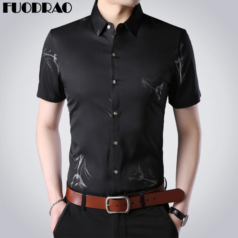 Мужские повседневные рубашки Летние с коротким рукавом мужчины Slim Fit Print Business Dress Рубашка Camisa Masculina Одежда E083