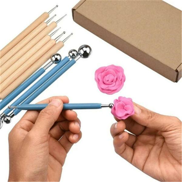 5 Ball Stylus Dotting Tools Set for Embossing Pattern Clay Pottery Ceramics Doll