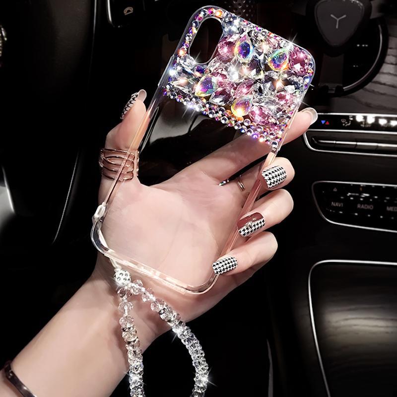 Fantaisie À La Main Coloré cristal pierres bracelet téléphone cas Pour Huawei P10 P20 Lite Plus Y5 Y6 Y9 2017 2018 Mate 9 10 20 Lite Pro