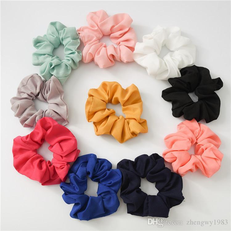 20 couleurs filles solide en mousseline de soie douce Chouchous élastique Anneau Ties Accessoires cheveux Porte-Bandeaux caoutchouc Ponytail bande Chouchous FJ395