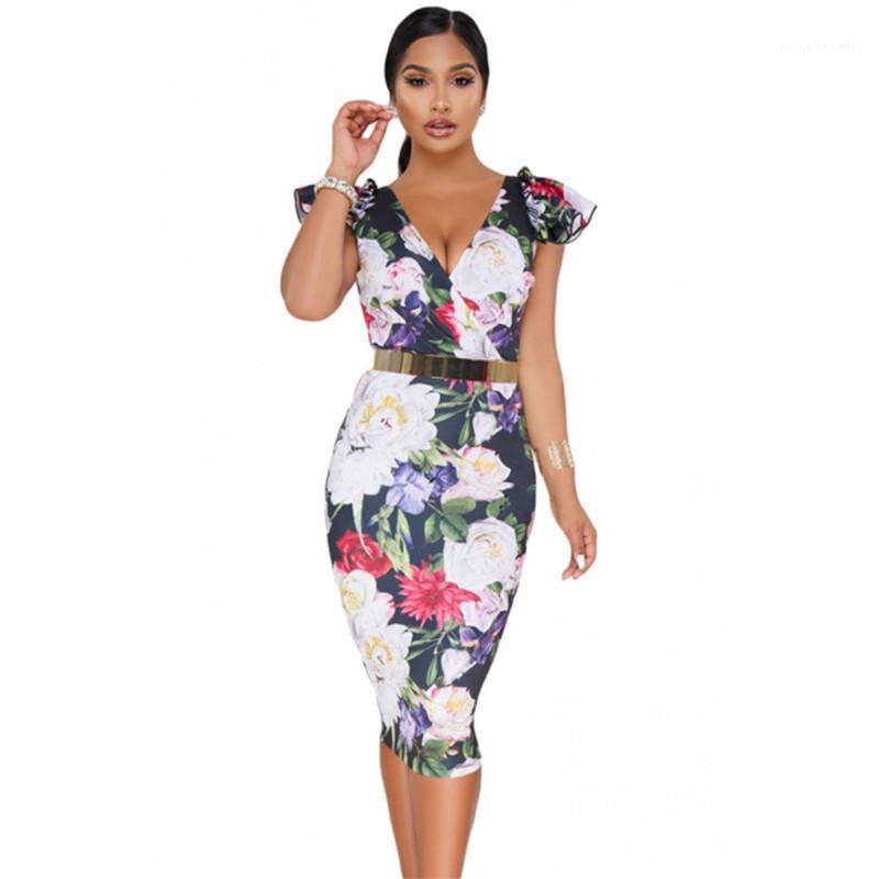 Manga femenina vestido con cuello en V Bolso floral de la cadera vestido de diseñador de moda 2020 vestidos de las mujeres atractivo corta impresa