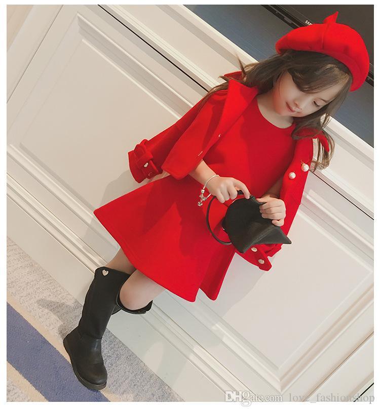 التجزئة طفلة الشتاء ملابس مل 3pcs أحمر عيد الميلاد اللباس معطف من الصوف مع غطاء طقم ملابس رياضية مصمم ملابس الاطفال بوتيك
