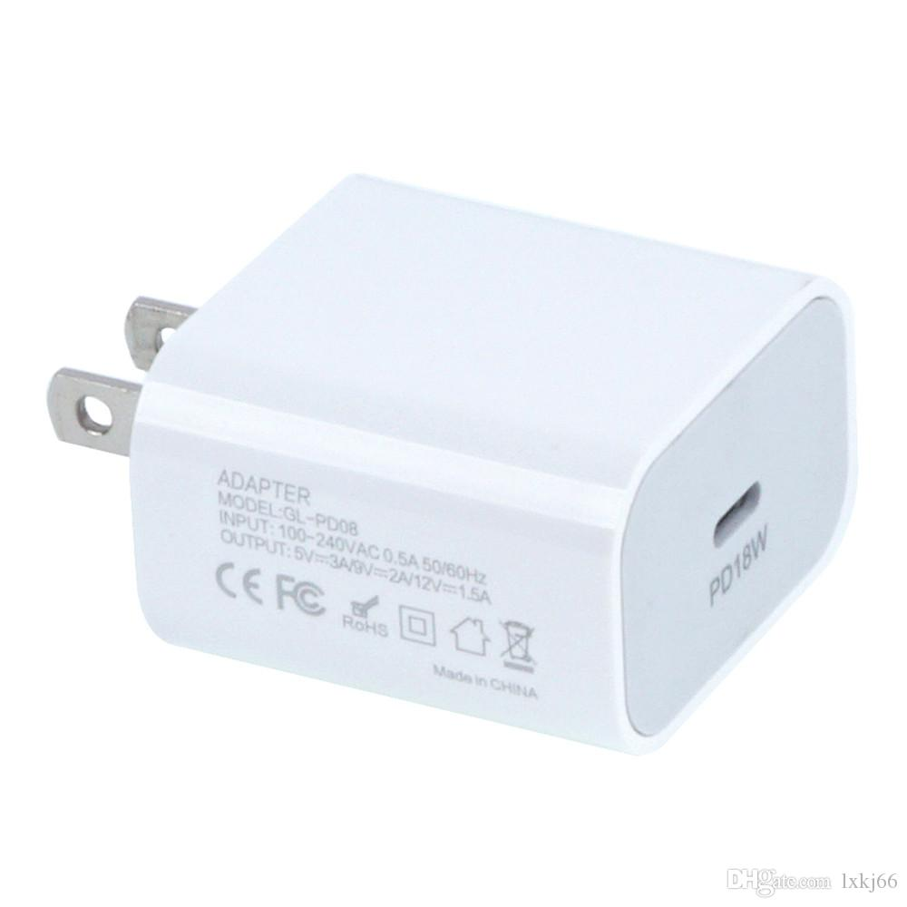 2PCS / LOT US 18W 타입 C USB-C 고속 충전기 어댑터 아이폰 11 프로 11 프로 맥스