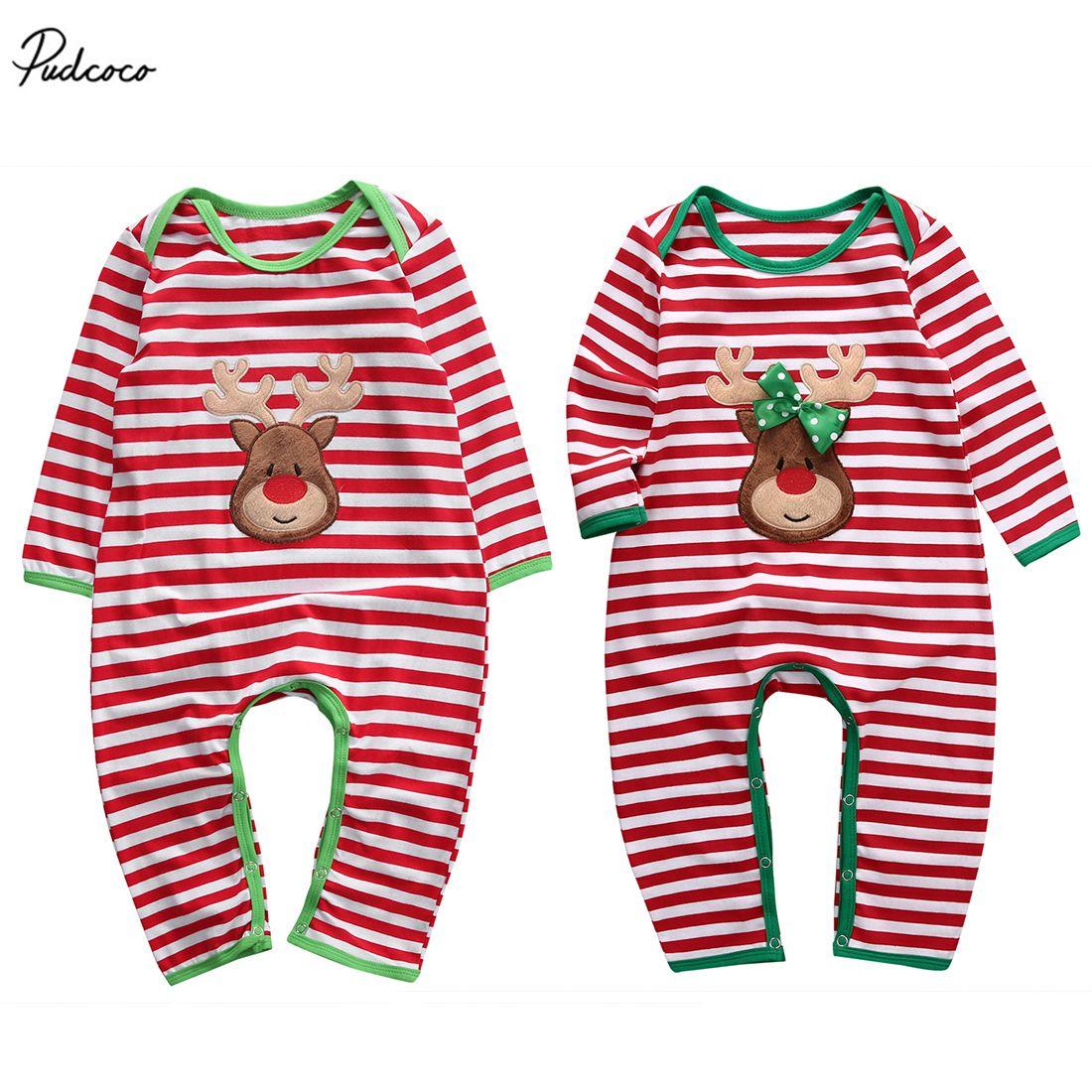 Pudcoco Christmas 3D Deer Romper Newborn Infant Baby Boys Girls 2017 New Striped Long Sleeve Sleepwear Pajamas Nightwear S200107