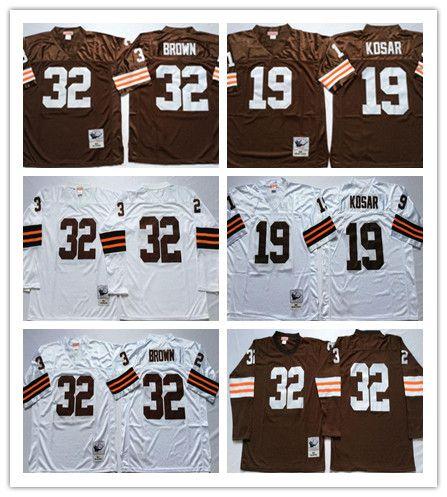 Hombres NCAA Jerseys Vintage Brown 32 # Jim Brown 19 # Bernie Kosar Jersey de fútbol cosido talla 48 50 52 54 56 SIN NOMBRE