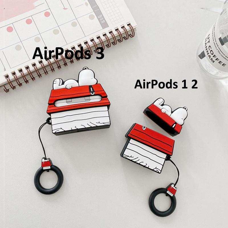 Cute Earphone Case for AirPods Pro Case Cartoon Snoopy Roof Cover for Apple AirPods Pro 3 Bags Protect Case with Carabine Hook