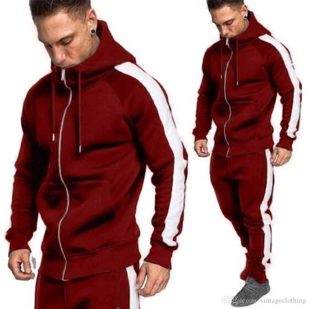 Mens Sports Suit Pullover Sweater Hooded Jumpsuit Long Sleeve Zipper Tracksuit
