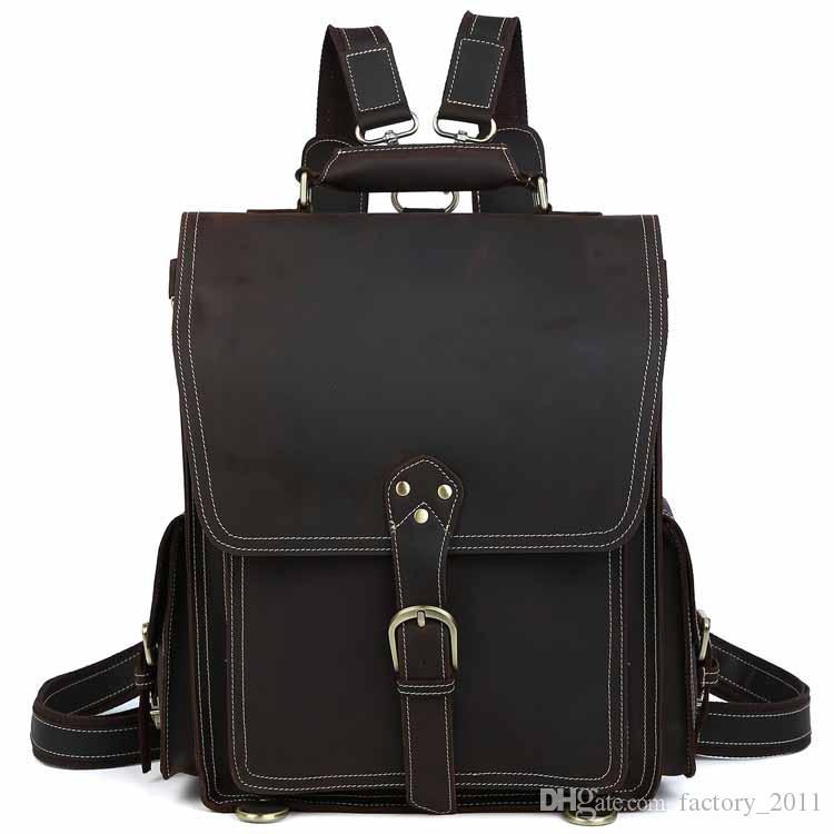 새로운 도착 학교 가방 지갑 가방과 함께 큰 용량 여행 배낭 정품 가죽 어깨 가방 남자 노트북 가죽 배낭