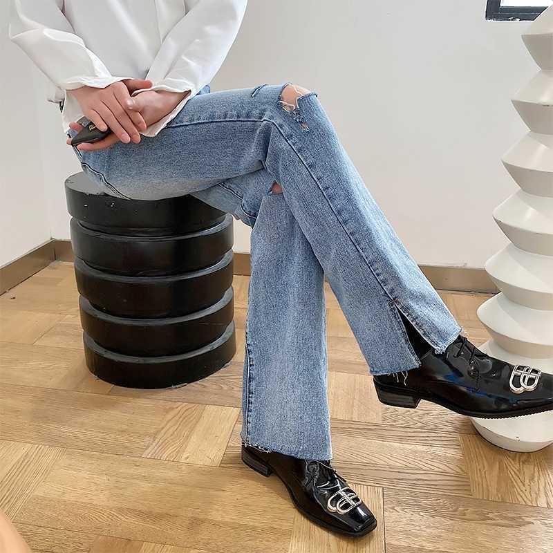Homme Femme Unisexe Japon Corée Streetwear Pantalons Vintage Denim Pantalons Homme Trou d'été Mode casual longues droites Jeans