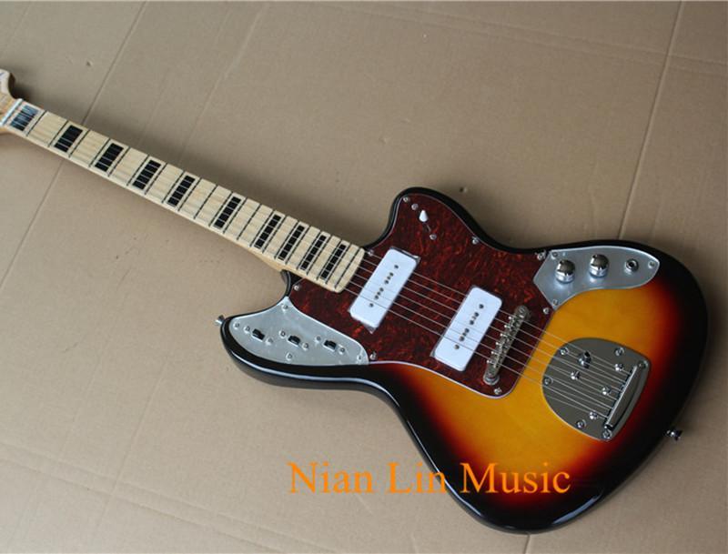 6-String guitarra elétrica com Tobacco Sunburst cores, bordo Fingerboard, Black Fret marcas embutimento, 2 P90 Pickups
