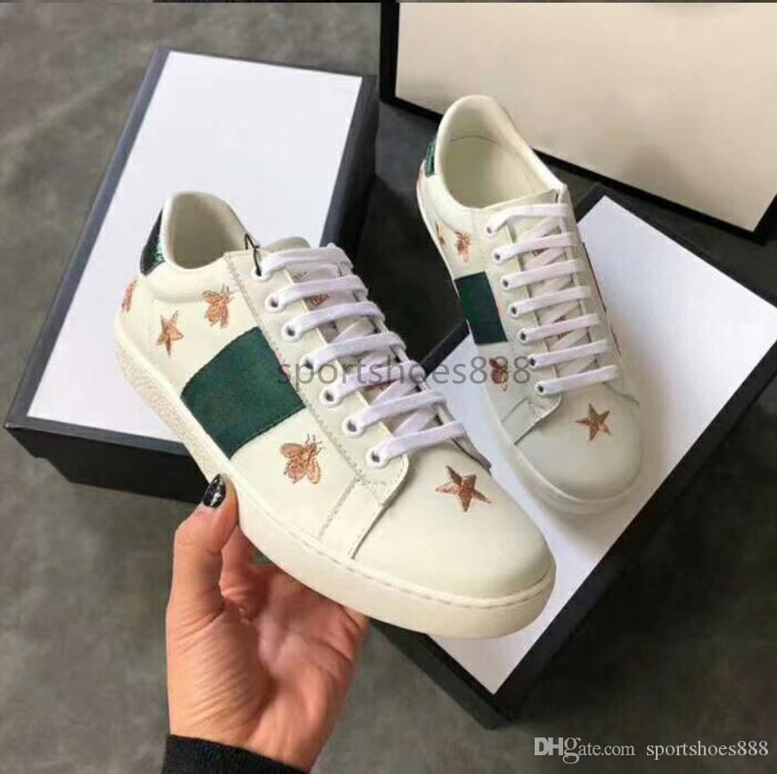 2019 Lüks Markalar G Ace Sneakers Loafers Tasarımcılar Sürüş Ayakkabı Moda G Gerçek Deri Erkekler Kadınlar Beyaz Casual Düz ayakkabı 35-45