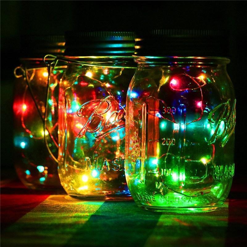 NEW 20LED Solar PoweredLED Mason Jars Light Up Lid String Fairy Star Lights for Mason Glass Jars Christmas Garden Lights Wedding Party Decor