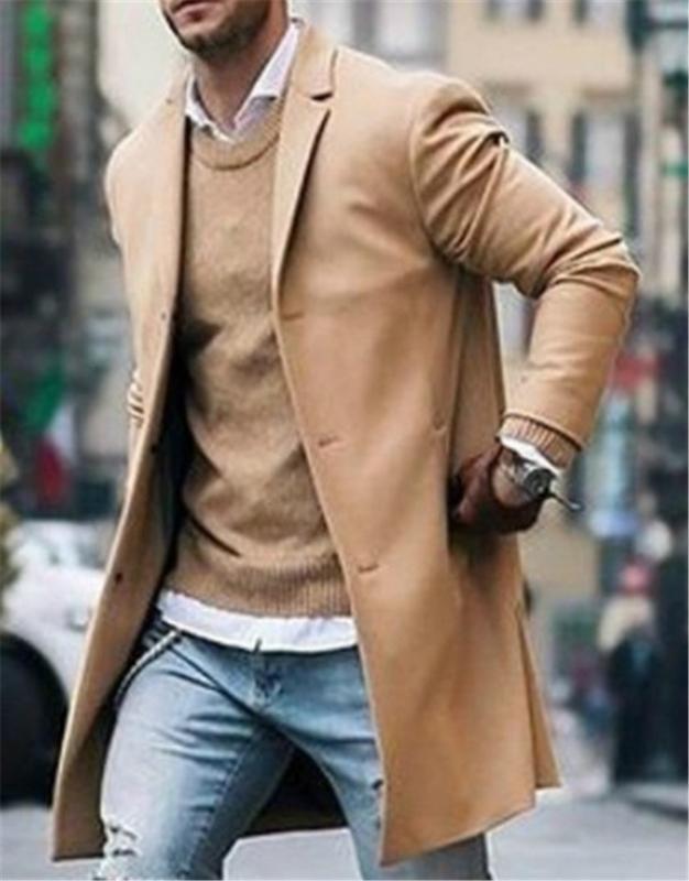 Trench Mode homme chaud Thicken Veste en laine Caban long Pardessus Hauts Manteaux Pardessus veste à manches longues Bouton